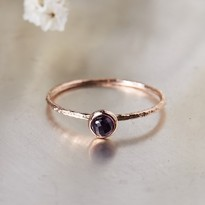 [Free Shipping] (S013) Real Stone February Birthstone Amethyst Rose Gold Silver Ring