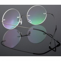 Kacamata Bulat Ultra Light Rimless Titanium