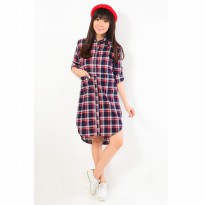 Jfashion plaid long tunik camelia - Merah