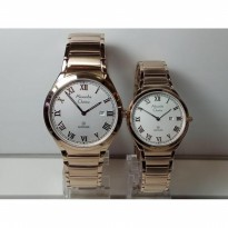 Jam Tangan Couple Alexandre Christie 8538MDLD Light Gold Original