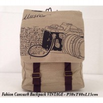 Tas Fashion Canvas backpack Vintage - 3