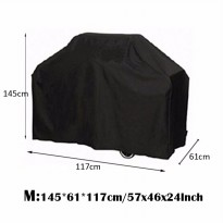 Black Waterproof Bbq Cover Outdoor Rain Barbecue Grill Protector For Gas Charcoal [Size:M]