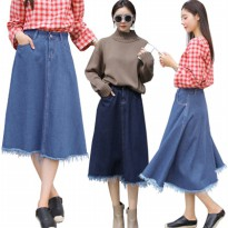 KOREAN STYLE ★ [#6006] Shannon Denim Skirt/Rok wanita denim/Rok midi bahan jeans