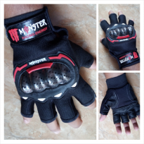 Sarung Tangan MONSTER Racing Energy Half Fingers Warna Merah