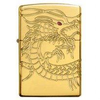 (High Quality) Zippo Dragon Gold Plated