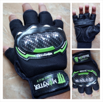 Sarung Tangan MONSTER Racing Energy Half Fingers Warna Hijau