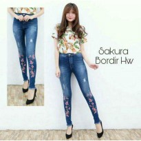 SAKURA BORDIR HW / HIGHWAIST / HIGH WAIST / SOFT JEANS / CELANA JEANS