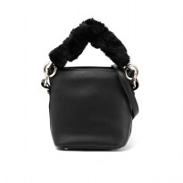 London Berry by HUER Viera Bucket Bag With Faux Fur Strap 9461-005 Black