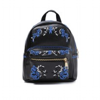 London Berry by HUER Lilyana Embroidery Backpack 9453-031 Black-Blue