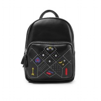London Berry by HUER Cherry Embroidery Backpack 9453-026 Black