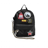 London Berry by HUER Paris Patches Backpack With Rope 9453-033 Black
