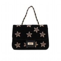 London Berry by HUER Stary Embroidery Velvet Sling Bag 9461-002 Black