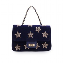 London Berry by HUER Stary Embroidery Velvet Sling Bag 9461-002 Navy