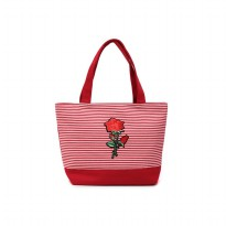 London Berry by HUER Sheila Stripes Patches Small Totes Bag 9459-002 Red