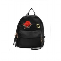 London Berry by HUER Yeyas Patches Backpack 9453-019 Black