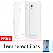 Case for Asus ZenFone 5 / A500CG - Clear + Gratis Tempered Glass - Ultra Thin Soft Case