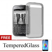 Case for Blackberry Leap - Abu-abu + Gratis Tempered Glass - Ultra Thin Soft Case
