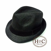 Topi Fedora Hat LIST BLACK FEDORA