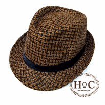 Topi Fedora Hat SQUARE LIST BROWN FEDORA