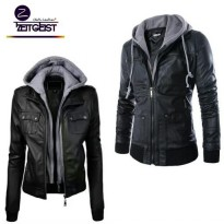 ZEITGEIST COUPLE HOODIE LEATHER JACKET BLACK STYLISH (NW-69)