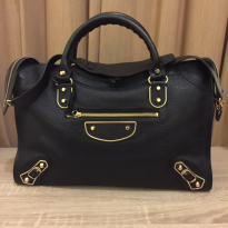 Balenciaga City Metallic Edge Black GHW