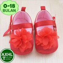 AXHL Prewalker Red Flower 0-18 months (Sepatu Bayi Perempuan Bahan Cotton / Baby Girl Shoes)