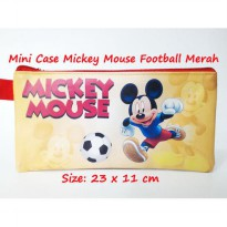 Mini Case Character Mickey Mouse Football Merah Travelling Organizer Fancy Pouch Tempat Pensil