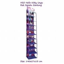 HSOZ Hello Kitty Ungu (Rak Sepatu Gantung Retsleting) Hanging Shoes Organizer