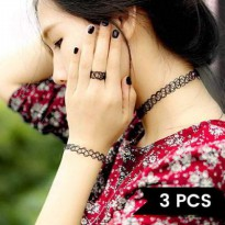 [KALUNG] 02572Br Choker Set Of 3 Pieces Black