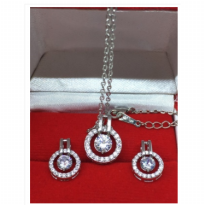 Set Perhiasan Kalung Anting Emas Putih SIlver Berlian Imitasi - V1004AN