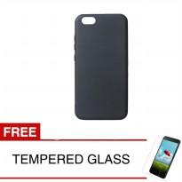 Case for Realme C1 - Slim Soft Case - Hitam Solid + Gratis Tempered Glass