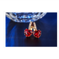 Anting Rose Gold 18k Batu Love Merah Berlian Imitasi Wanita - V1021E