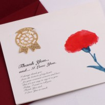 Thanks, Carnation - 18k brass bookmark + card + envelope