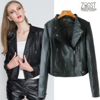 Zeitgeist Faux Leather Women Bikers Stylish Jaket Kulit Sintetis (JS-041)