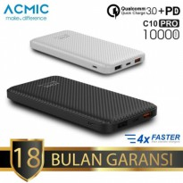ACMIC C10PRO Power Bank 10000 mAh QC 3.0 PD Power Delivery - Garansi 18 bulan