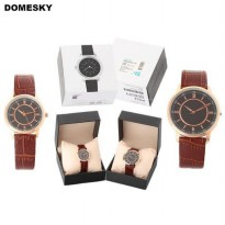 Jam Tangan Bisa Couple Casual Istimewa Domesky Leather Coklat / Brown New