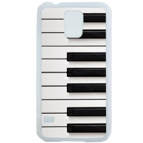 Custom Case Motif Piano Keyboard for Samsung Galaxy S5 Case Casing Cover - Putih