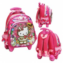 Tas Trolley Anak PAUT Import - Hello Kitty 5D Timbul Hologram - Pink