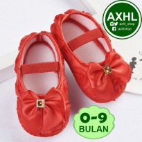 AXHL Prewalker Red Bow / Sepatu Bayi Lucu Murah 0-9 Bulan / Cute Baby Girl Shoes
