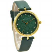 Giordano 2767-04 Jam Tangan Wanita Leather Strap HIjau Ring Gold