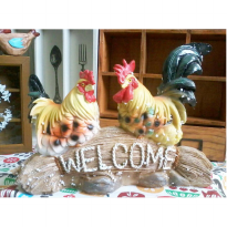 PAJANGAN AYAM RESIN 'WELCOME'