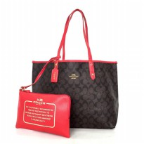 Coach Reversible City Tote In Signature - Red