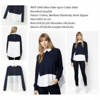 Blue Fake 2pcs Collar Shirt (size S,M,L)-11995