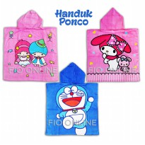 Handuk Ponco Karakter anak anak doraemon , twin little star , melody