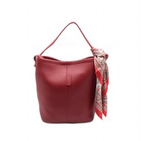 London Berry by HUER - Candy Bucket Bag With Scarf Red