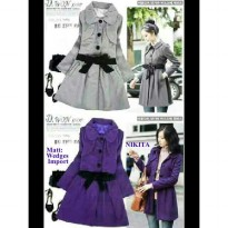 [nikita top coat grey AK] coat wanita wedges import abu abu