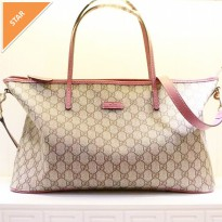 TAS GUCCI TOTE BAG CANVAS PINK ORI LEATHER. HIGH QUALITY