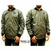JAKET BOMBER PRIA PATCH FLAG REBEL ID GREEN PREMIUM