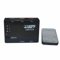 3-Port 1080P HDMI Splitter Switch with Remote Control - Hitam