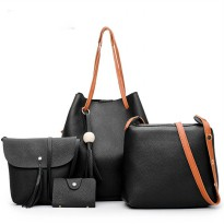 Tas Wanita Casual Plain Bucket-Tote Bag 4 in 1 3 Pilihan Warna